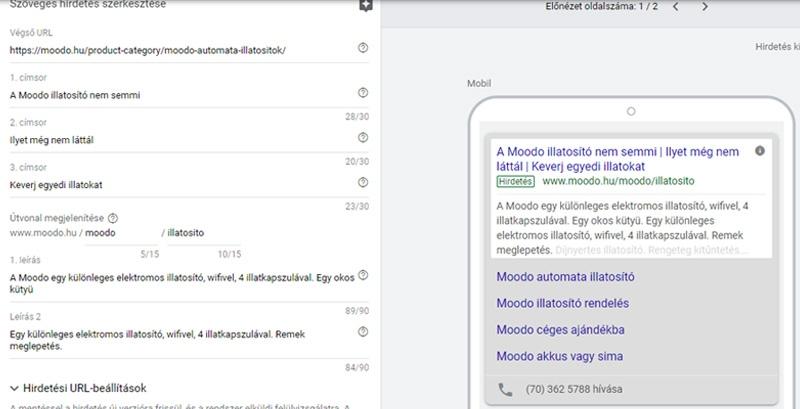 Google Adwords hirdetés minta